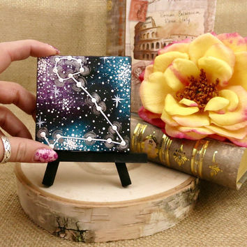 Tiny Hand Painted Pisces Constellation Painting