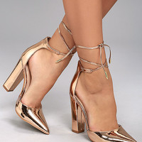 Angela Rose Gold Lace-Up Heels