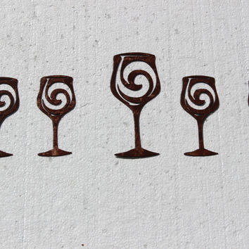 Wine Glasses Set of 5 Antique Copper Finish Metal Wall Art Wall Accent
