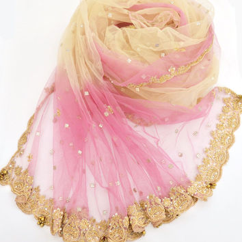 Large Pink and Ivory Tulle Shawl