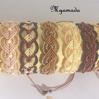 Coffee, chocolate and milk micro macrame bracelets / FREE SHIPPING