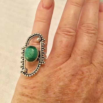 Malachite silver ring size 5