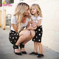 Mother Daughter Matching Clothes Sets Kids 2018 Short Sleeves Dot T-shirt+Skirts Family Look Clothing Outfits