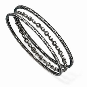 Sterling Silver Black-Plated Cz Three Bangle Set, 8 inches, Exquisite Bracelets For Women, Fine Jewelry