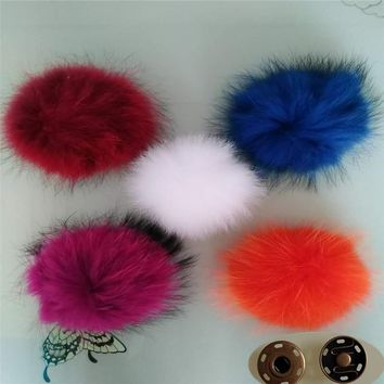 15CM Multicolor Real Raccoon Mink Fox Fur Ball 5 Colorful Fur Winter Pom Poms For Shoe Bag Hat Fur Cap Accessories
