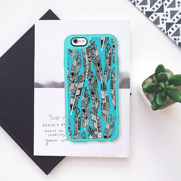 geo feathers turquoise blue iPhone 6s case by Sharon Turner | Casetify