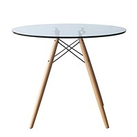 """WoodLeg Dining Table 48"""", Clear"""