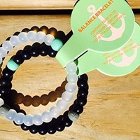 2 Balance Bracelets, Silicone Beaded Black White Combo - Medium Size