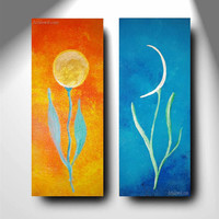 Sun and Moon Day and Night Abstract Folk Art Flowers Diptych gold silver orange blue harmony decoration zen wall art jewelry meditation