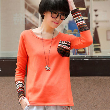 Long Sleeve Printed Embroidered T-shirt