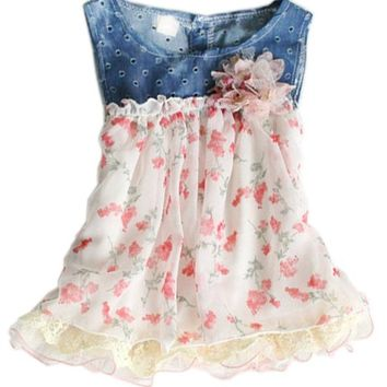Toddler Baby Girls Dress Denim Chiffon Flower Dress Kids Sun Dress Dress Clothes