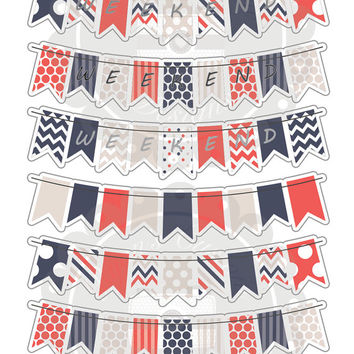 ON SALE Summer Breeze Weekend Bunting Planner Stickers |24 Stickers| Erin Condren | Planner | Custom | Cute | Weekend | Bunting | 4th July |
