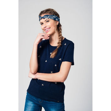 Navy blue t-shirt with strass stones details