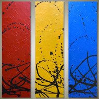 """MASSIVE 48"""" Original Abstract Triptych Acrylic Painting - Textured Red, Yellow, Blue Art - Color Theory: 3 Canvas 16 x 48 - HUGE 48 x48 Hung"""