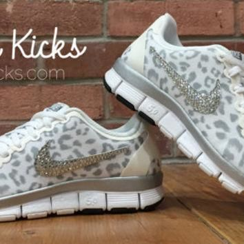 Leopard Bling Nike Free Run 5.0 Glitter Kicks Shoes - Blinged Out /Customized With Swa