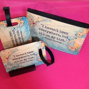 Passport Cover and Luggage Tag Travel the World Set