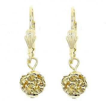 Gold Layered 5.120.011 Dangle Earring, Ball Design, with  Crystal, Polished Finish, Gold Tone