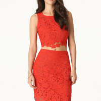 bebe Womens Lace 2-Piece Dress Poinciana