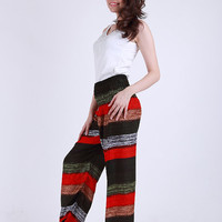 Mix candy red black beach surf  Elephant pants /Hippies pants /Boho pants one size fits harem pant