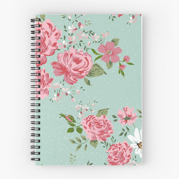 'Vintage floral background of flowers-rose, peony, chamomile.' Spiral Notebook by LourdelKaLou