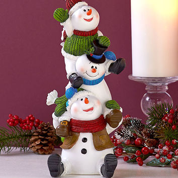 Christmas Winter Holiday Stacker Figurines Penguin Moose Snowmen Holiday Decor