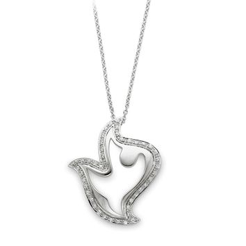 Rhodium Plated Sterling Silver & CZ Amazing Peace Dove Necklace, 18in