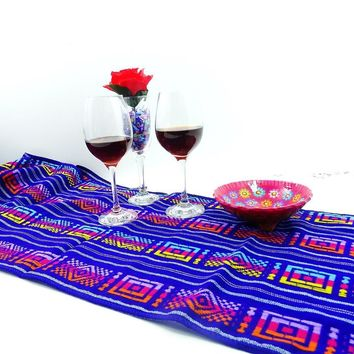 Mexican Themed Wedding, Mexican Dinner Party Decorations, Aztec Fabric, Bohemian Chic, Mexican Table Runner, Blue Tribal Fabric.