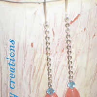 Tourmaline pink blue glass crystal silver chain drop earrings jewelry gift