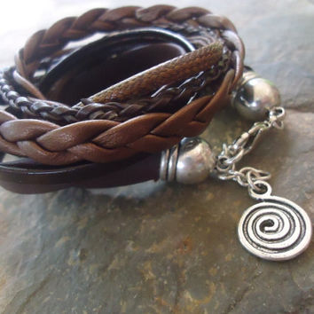MIX in DARK BROWN  wrap bracelet