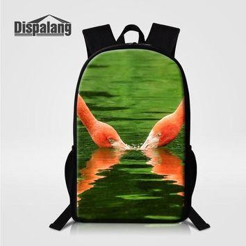 Boys bookbag trendy Dispalang Flamingo Prints Women Fashion Travel Backpacks Students Back Pack 16-inch School Bag Casual  for Girls Boys AT_51_3