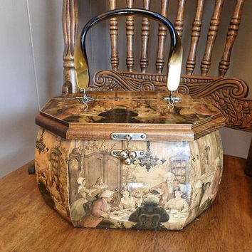 Decoupage Purse Hand Bag Wooden Mid Century 1950s 50s Lucite Handle Octagonal Decoupaged Wood Box Purse Intricate Picturesque Colonial Scene