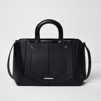 Black boxy panelled tote bag
