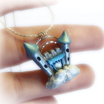 Castle in the sky polymer clay necklace, blue castle on a cloud necklace, fairytale jewelry, disney jewelry, fantasy jewelry