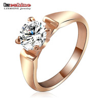 LZESHINE Brand Big Promotion Bridal Finger Rings Real Rose Gold/Silver Plated Gift Jewelry Ring for Women anillos Ri-HQ1064