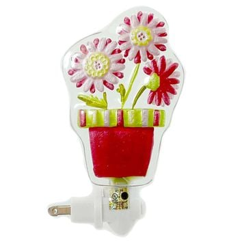 Easter DAISY NIGHTLIGHT Glass Spring Flowers Silvestri 20103032