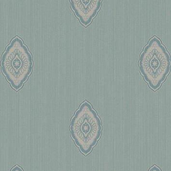 Sample of Damask Medallion Wallpaper in Metallic, Blues, and Greens design by Seabrook Wallcoverings