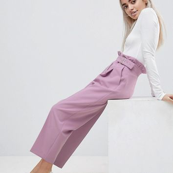 ASOS PETITE Tailored Frill Waist PANTS with Buckle Detail at asos.com
