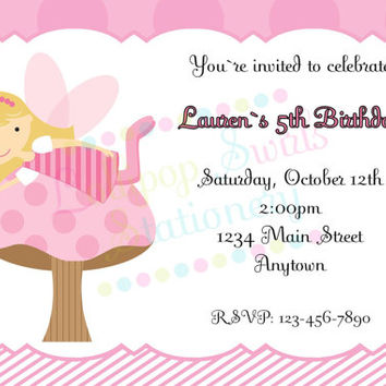 Printable Pink Fairy Girls Birthday Invitations