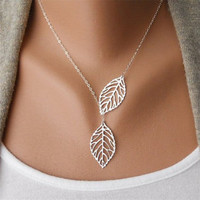 Best Price 1PC Womens Girls Simple Metal Double Leaf Pendant Alloy Choker Necklace