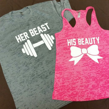 His Beauty And Her Beast Burn Out Tshirt And  Tank Top. Couples Gym Shirt.Fitness Tank Top.Woman's Work Out Clothing. Racer back Tank this l