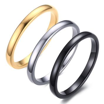Small Simple Cute Women's Black Silver Gold-color Rings Trendy 2mm Tungsten Carbide Wedding Bands for Women Jewelry Gifts