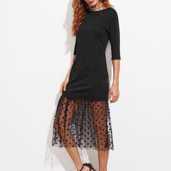 Contrast Sheer Polka Dot Black Lace Dress