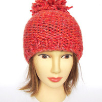 Burnt orange hat knit with wool free yarn ski accessory with large pom pom fun knitted accessories irish knit hat chunky yarn tangerine hat