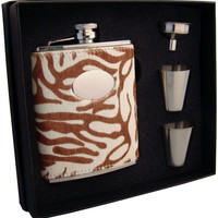 Visol Siberian 6oz Tiger Leather Flask Gift Set