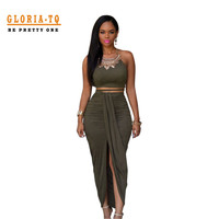 Front Opening Long Dress Summer Olive Green Suede 2 Piece Bandage Dress 2016 New Arrival Women Skater Dress Bodycon Dresses