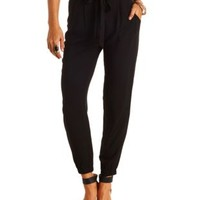 Sash-Belted Solid Jogger Pants by Charlotte Russe - Black