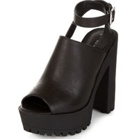 Black Peeptoe Ankle Strap Chunky Heel Boots