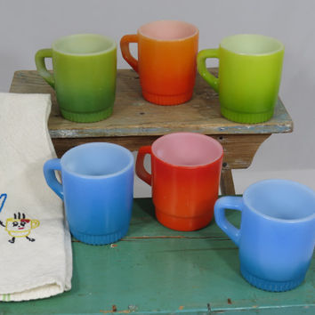 Fire King Coffee Mugs Set of 6 D-Handle Stacking Blue Green and Orange Anchor Hocking