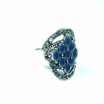 Antique Finish Vintage Ring Crystal Silver-Tone Engagement Rings Fashion Jewelry