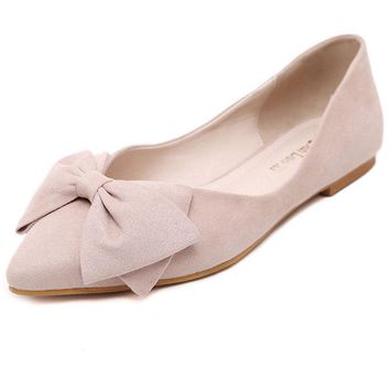 Korean Lady Ballet Flats 2017 Sweet Bow Pointy Toe Women's Flats Solid Flock Ballerina Flat Shoes Plus Size Woman Shoes 34-43